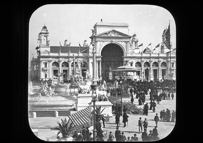 'Columbian Exposition Chicago. Exhibition Buildings. Electrical Building from Machinery Building. Copyright Kingston Museum and Heritage Service, 2010'